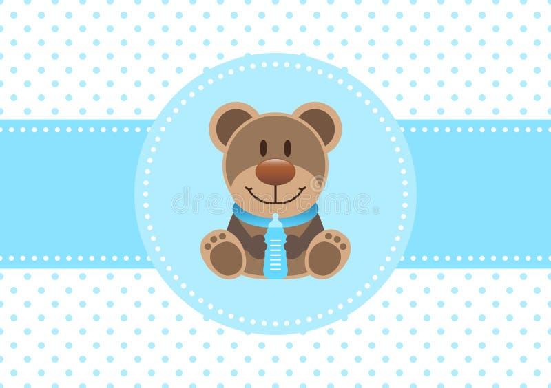 Behandla som ett barn kortpojkeTeddy And Bottle Dots Background blått stock illustrationer