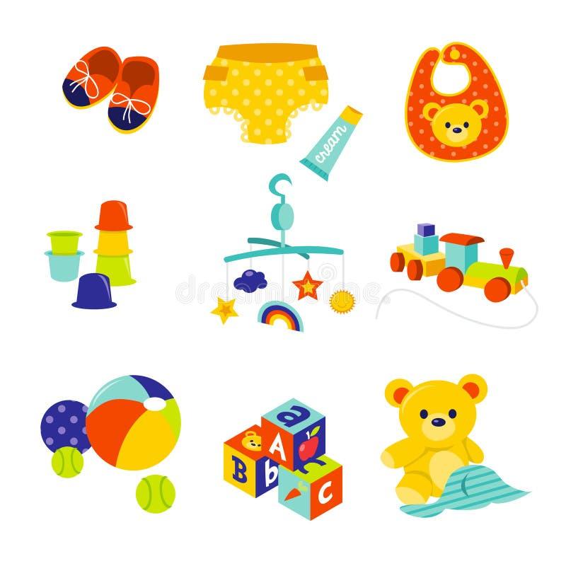 Behandla som ett barn kugghjul och leksaker royaltyfri illustrationer
