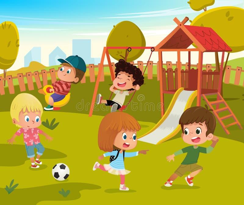 Behandla som ett barn lekplatssommar parkerar vektorillustrationen Barn spelar fotboll och svänger utomhus- i skolgårddagis royaltyfri illustrationer