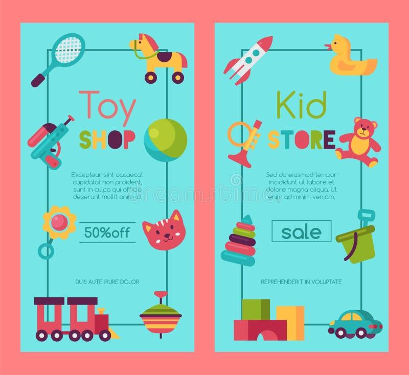 Behandla som ett barn leksaken shoppar banret i plan tecknad filmstil Ungar spelar marknaden inkluderar nallebjörnen, pyramiden,  stock illustrationer