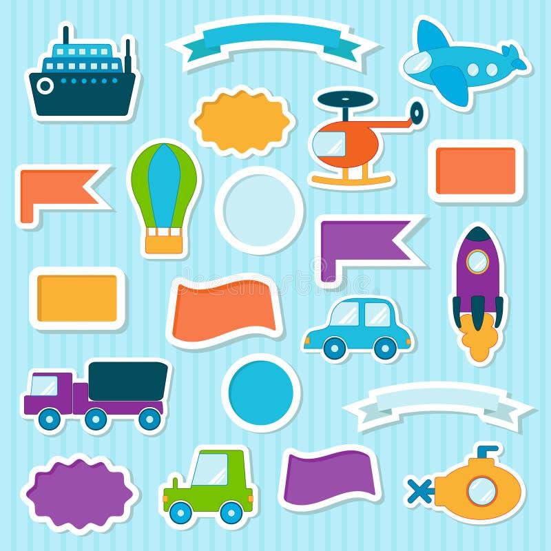 Download Behandla Som Ett Barn Leksakklistermärkear Vektor Illustrationer - Illustration av ubåt, ferie: 76704004
