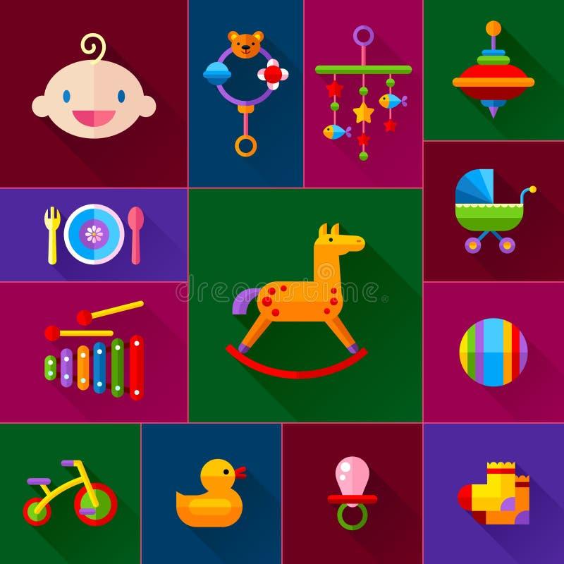 Behandla som ett barn leksaksymbolsuppsättningen royaltyfri illustrationer