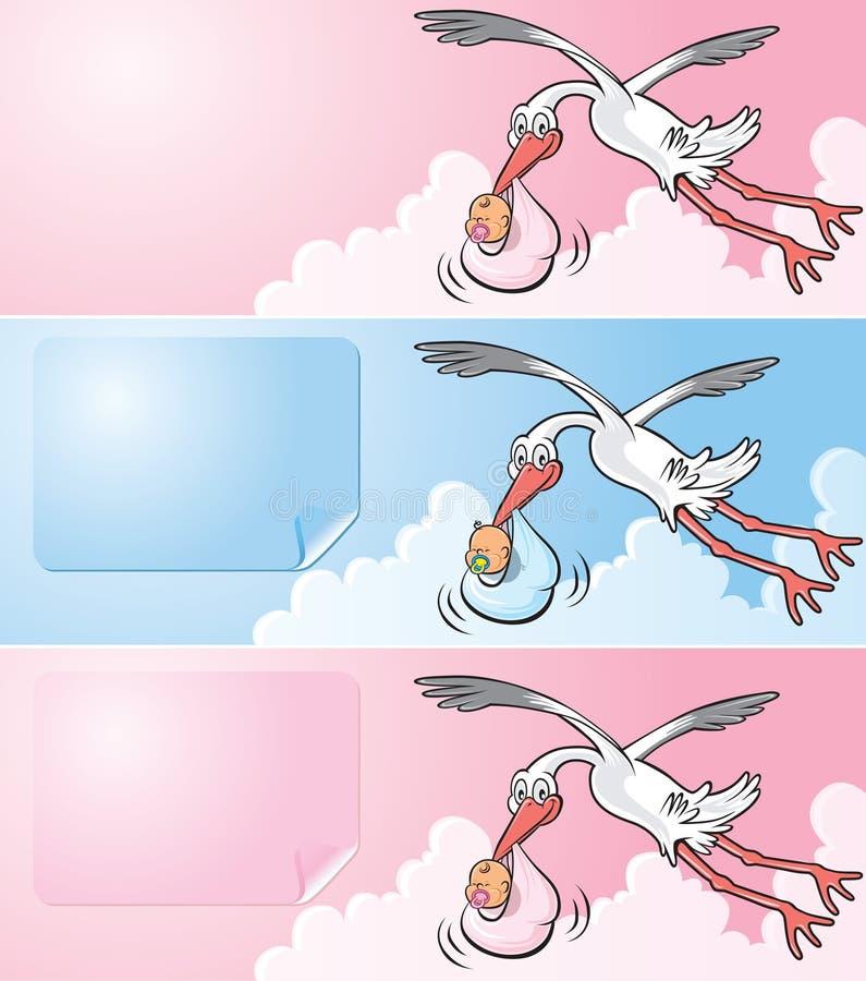 behandla som ett barn leverera den nyfödda storken för flyget royaltyfri illustrationer