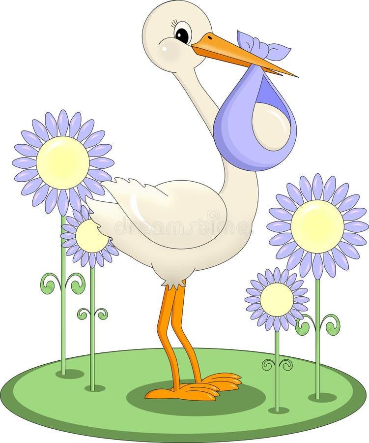 behandla som ett barn leverera storken stock illustrationer