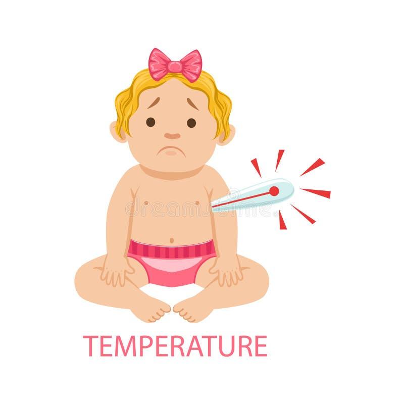 Behandla som ett barn lite flickan i Nappy med termometern har feber, del av anledningar av spädbarnet som det är den olyckliga o royaltyfri illustrationer