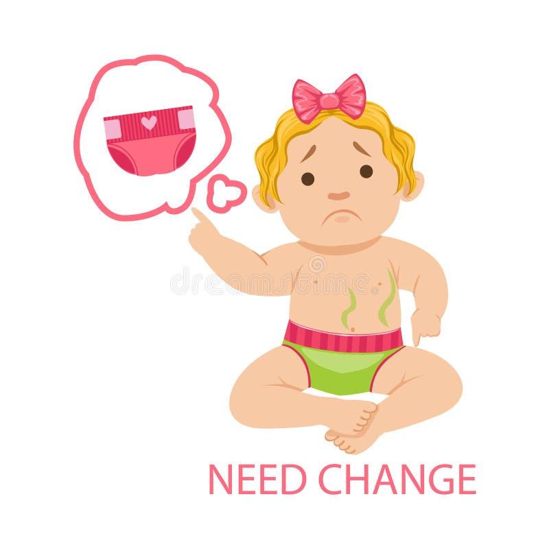 Behandla som ett barn lite flickan i smutsig Nappybehovsändring, del av anledningar av spädbarnet som det är den olyckliga och sk stock illustrationer