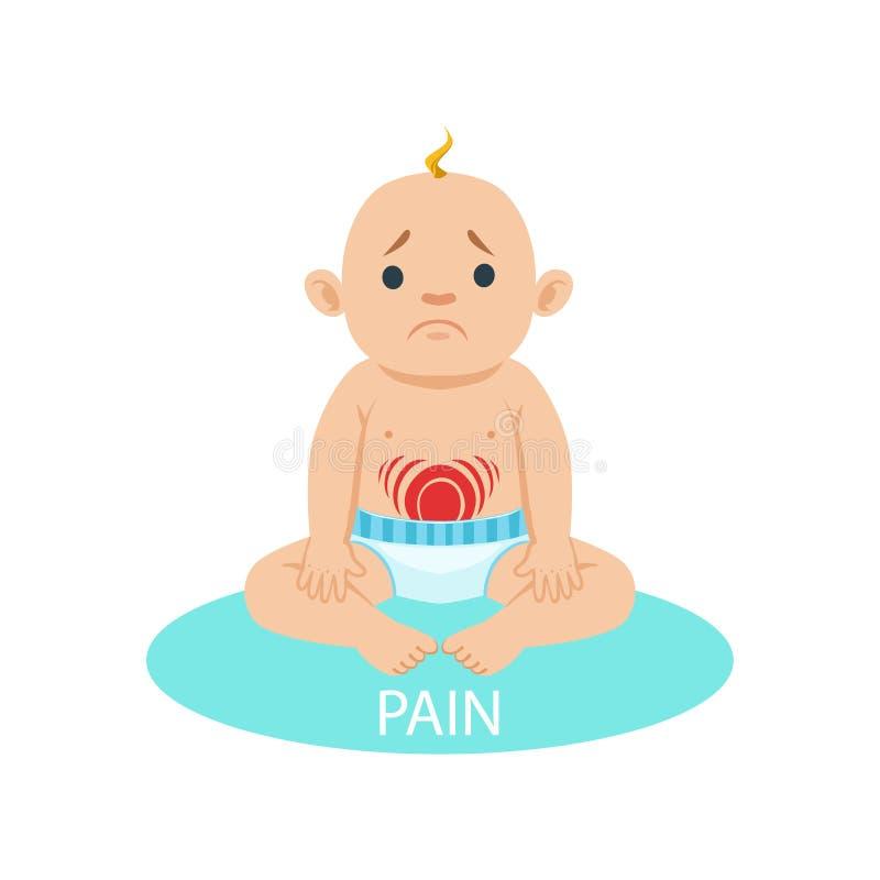 Behandla som ett barn lite pojken i nappyen som har buken, smärtar, delen av anledningar av spädbarnet som det är den olyckliga o royaltyfri illustrationer