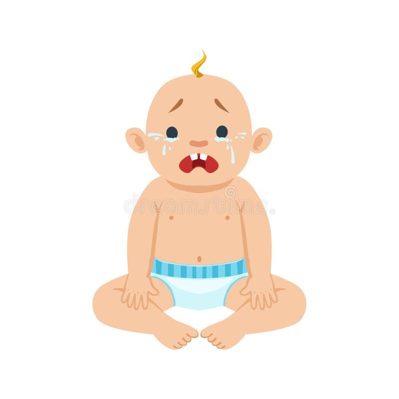 Behandla som ett barn lite pojkesammanträde i Nappygråt med ögon som är fulla av revor, del av anledningar av spädbarnet som det  royaltyfri illustrationer