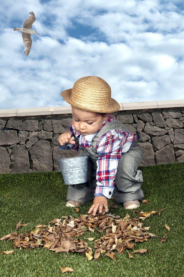 Behandla som ett barn lite pojketrädgårdsmästaren royaltyfri foto