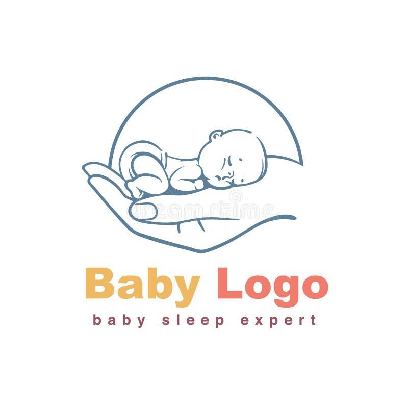 Behandla som ett barn logomallen royaltyfri illustrationer