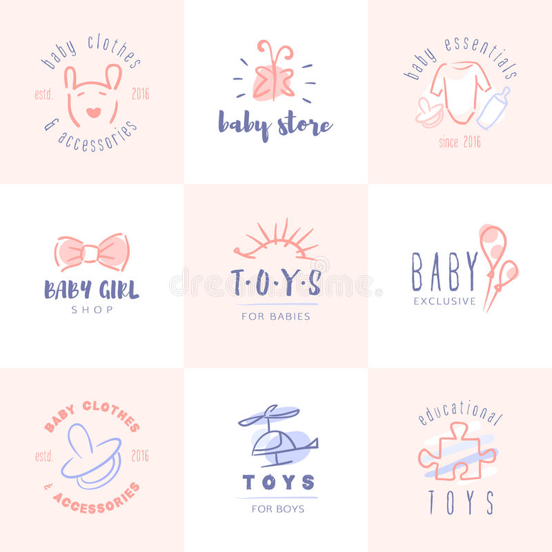 Behandla som ett barn logouppsättningen royaltyfri illustrationer