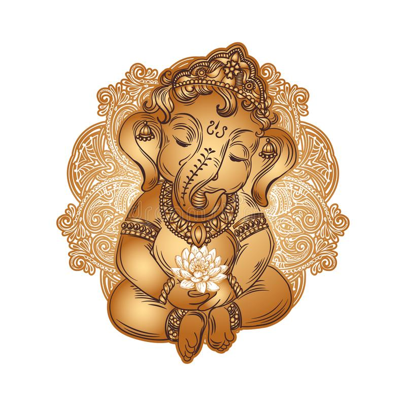Behandla som ett barn Lord Ganesha stock illustrationer