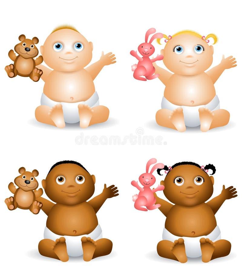 behandla som ett barn lyckliga toys för tecknad film royaltyfri illustrationer
