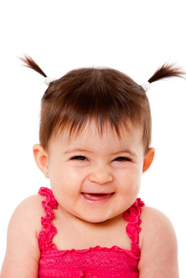 behandla som ett barn lyckligt skratta som är blygt royaltyfri fotografi