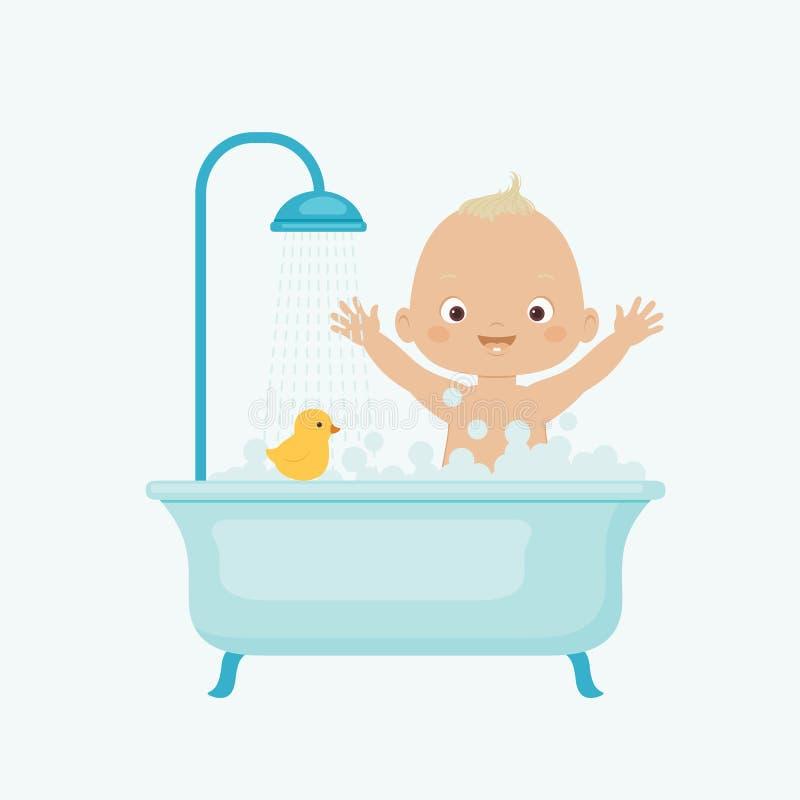 behandla som ett barn lyckligt ta för bad vektor illustrationer