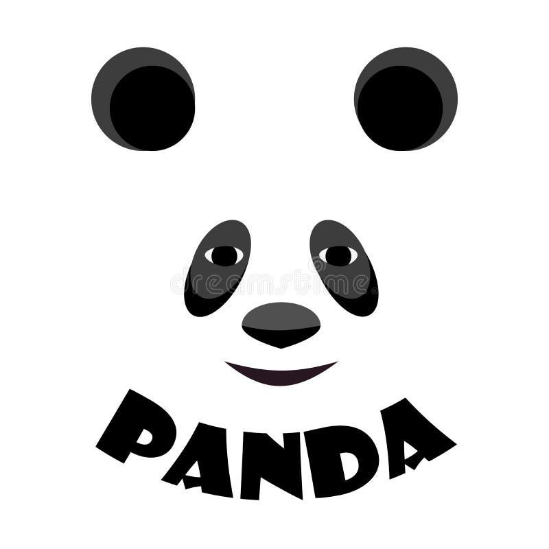 Behandla som ett barn mallen för pandaframsidalogoen symbol asiatisk björn huvud som isoleras på vit bakgrund royaltyfri illustrationer