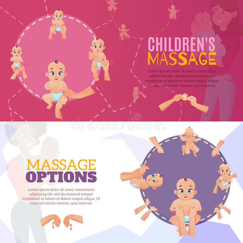 Behandla som ett barn massagebaneruppsättningen vektor illustrationer