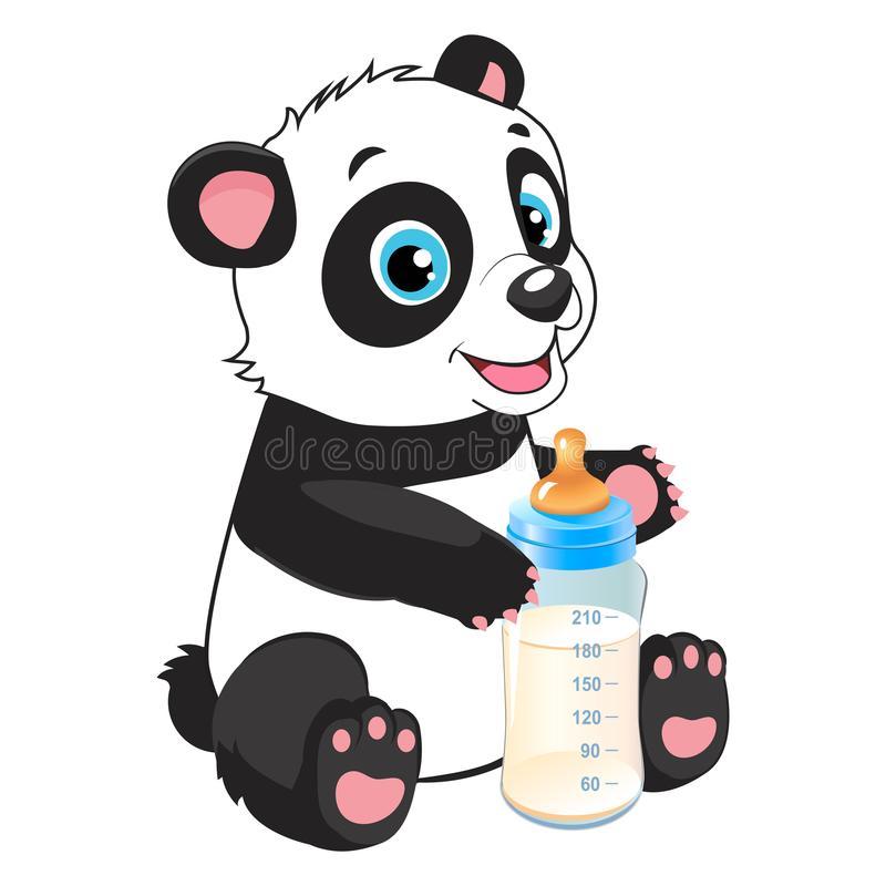 Behandla som ett barn matningstemat Gulligt behandla som ett barn Panda With Feeding Bottle royaltyfri illustrationer