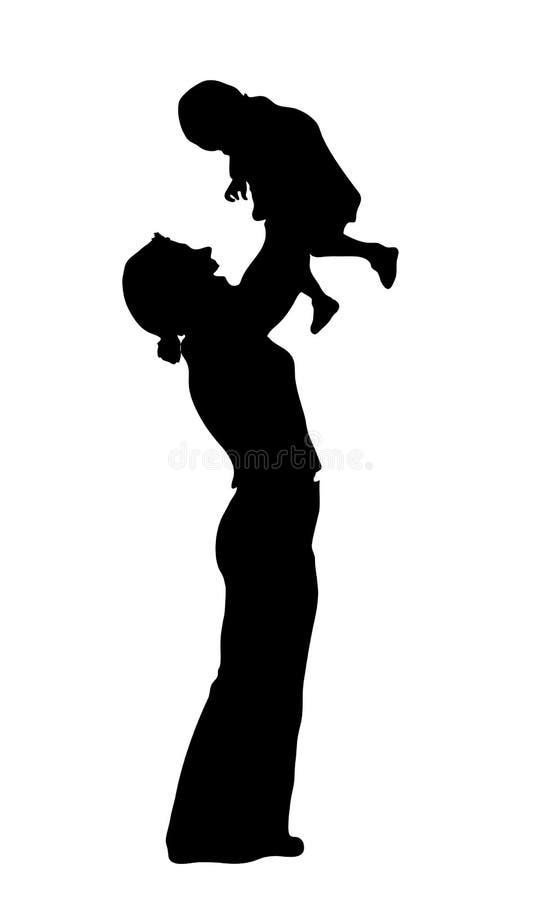 behandla som ett barn modersilhouetten vektor illustrationer