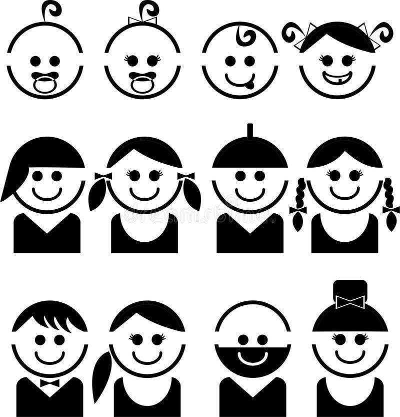 Behandla som ett barn och barnframsidor, linjen vektorsymbolsuppsättning royaltyfri illustrationer