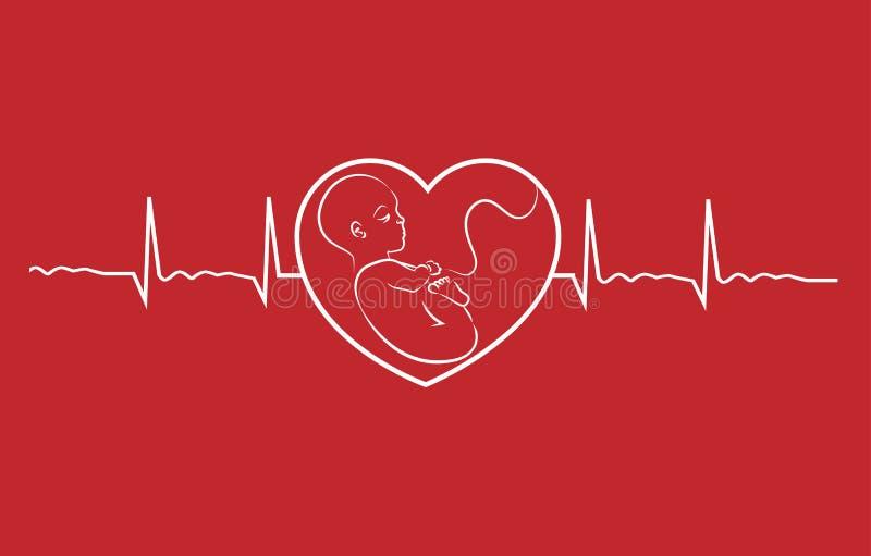 Behandla som ett barn och hjärtatakten royaltyfri illustrationer