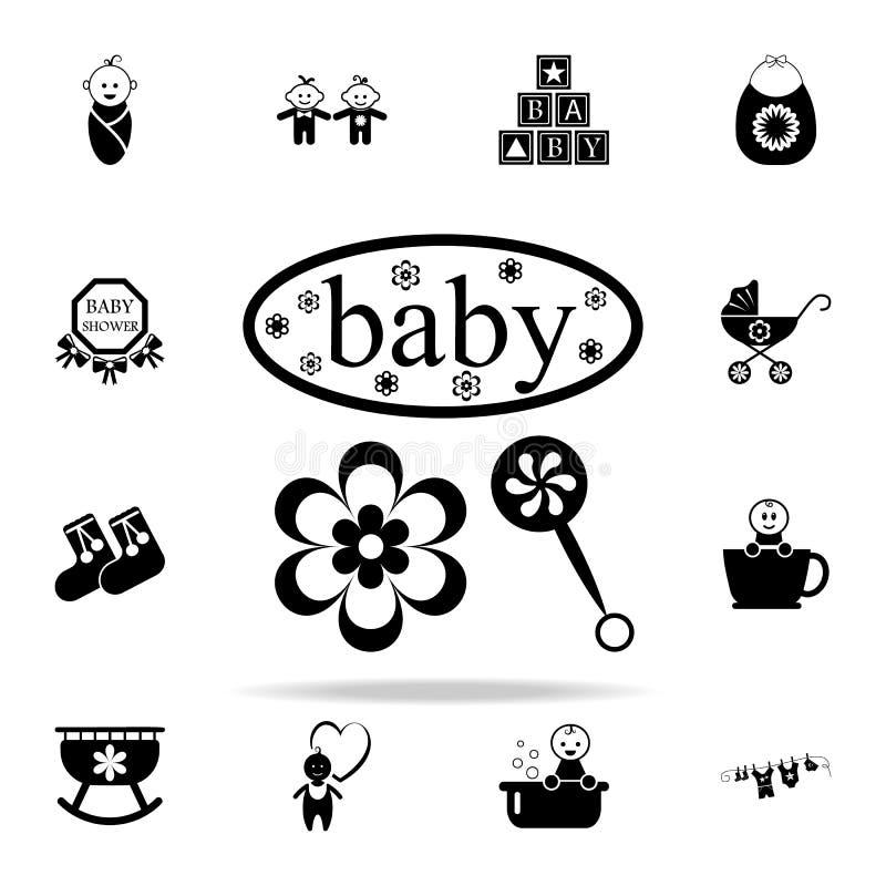 behandla som ett barn och leksakinskriftsymbolen Behandla som ett barn den universella uppsättningen för symboler för rengöringsd royaltyfri illustrationer