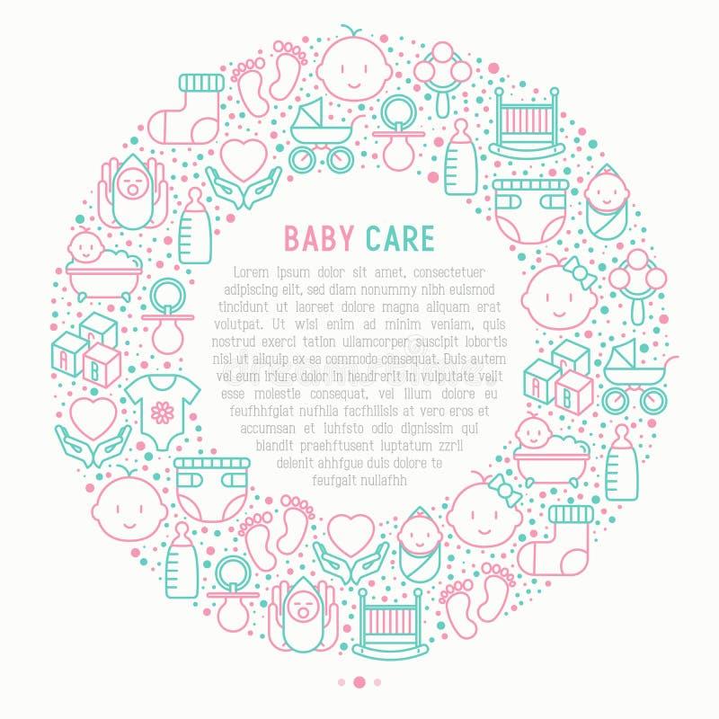 Behandla som ett barn omsorgbegreppet i cirkel royaltyfri illustrationer