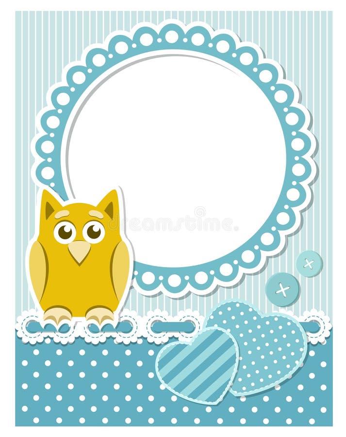 Behandla som ett barn owlen, blått somscrapbooken inramar vektor illustrationer
