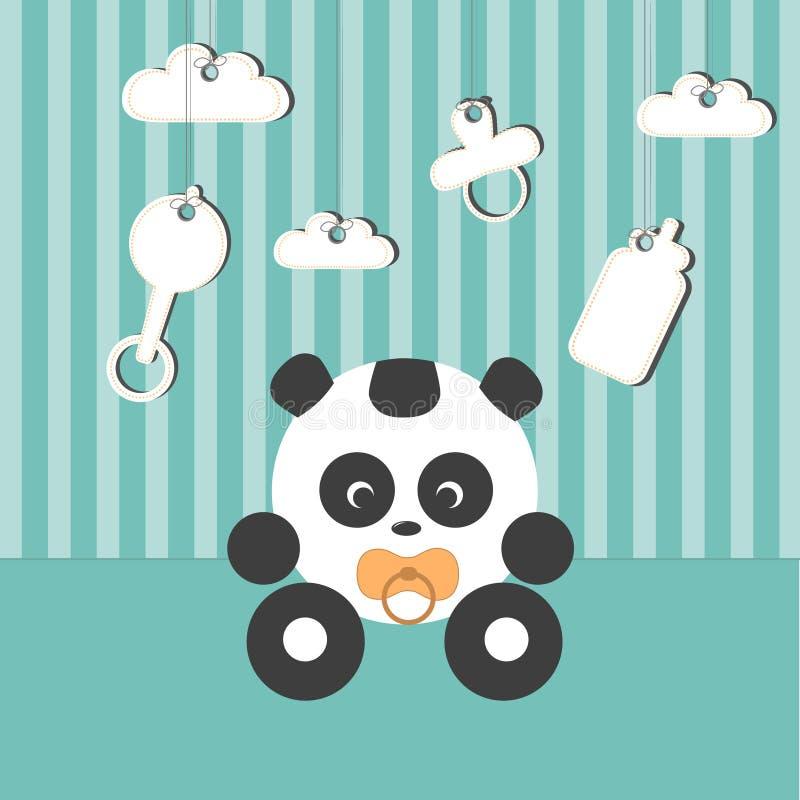 Behandla som ett barn pandan i baby'sens rum royaltyfri illustrationer