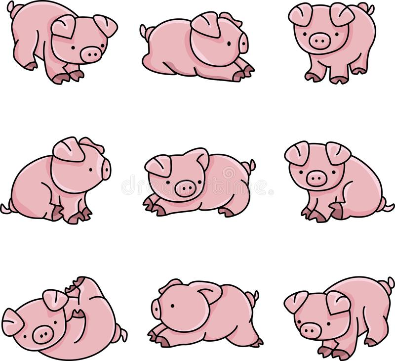 behandla som ett barn pigs vektor illustrationer