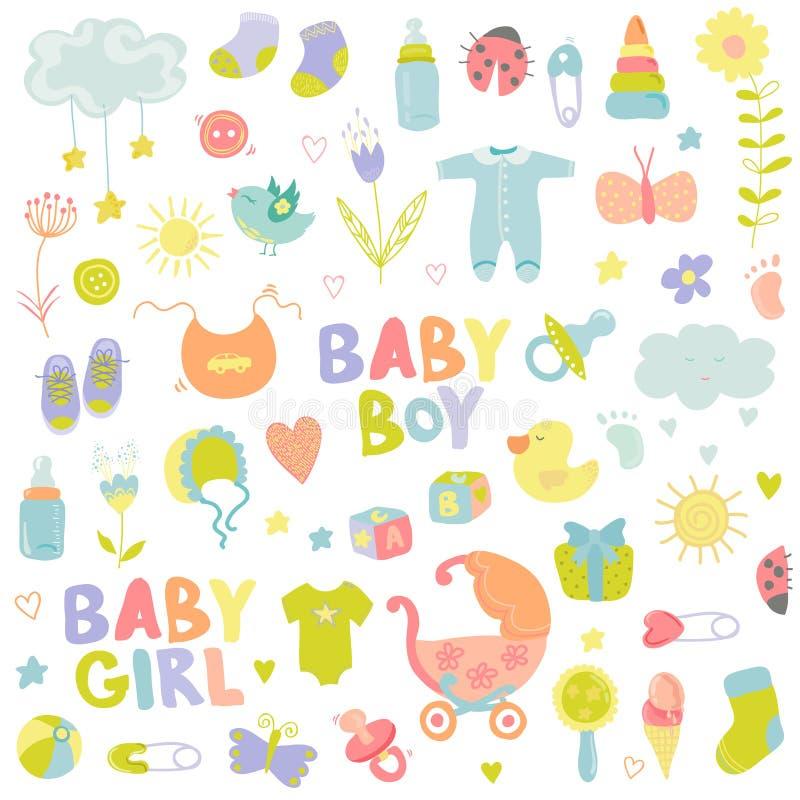 Behandla som ett barn pojke- eller flickadesignbeståndsdelar vektor illustrationer