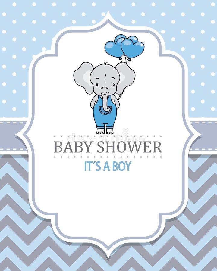 Behandla som ett barn pojkeduschkortet Gullig elefant med hjärta-formade ballonger stock illustrationer