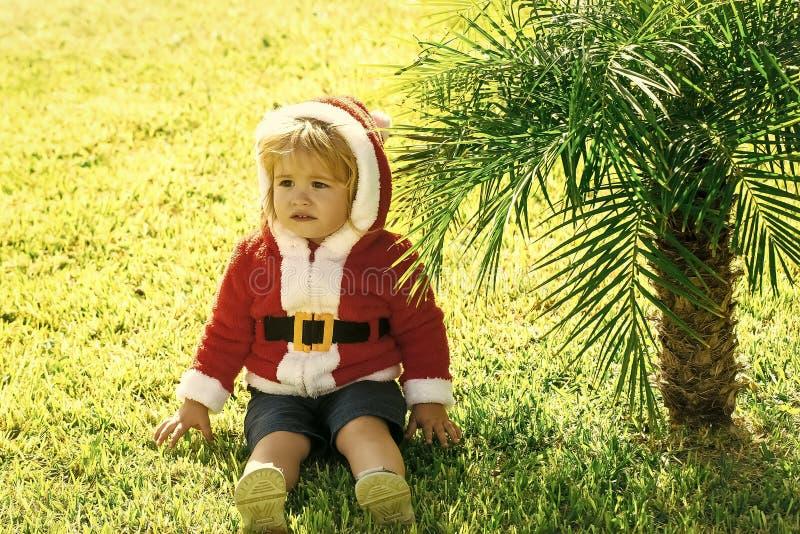 Behandla som ett barn pojken i santa, dräkt somsammanträde på gömma i handflatan på gräs royaltyfri fotografi