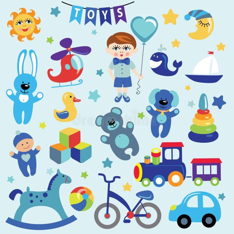 Behandla som ett barn pojken med behandla som ett barn leksaksymboler vektor illustrationer