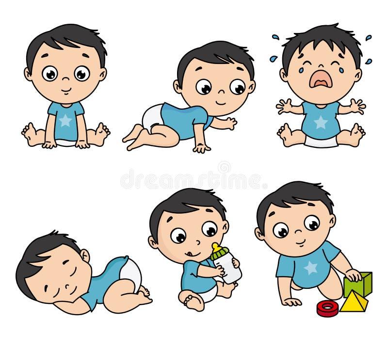 Behandla som ett barn pojken som uppsättningen i olikt poserar vektor illustrationer
