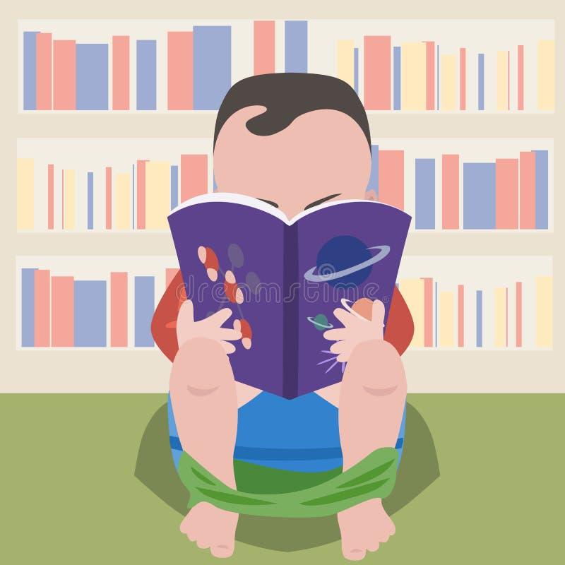 Behandla som ett barn pojkesammanträde på krukan med den vetenskapliga boken royaltyfri illustrationer