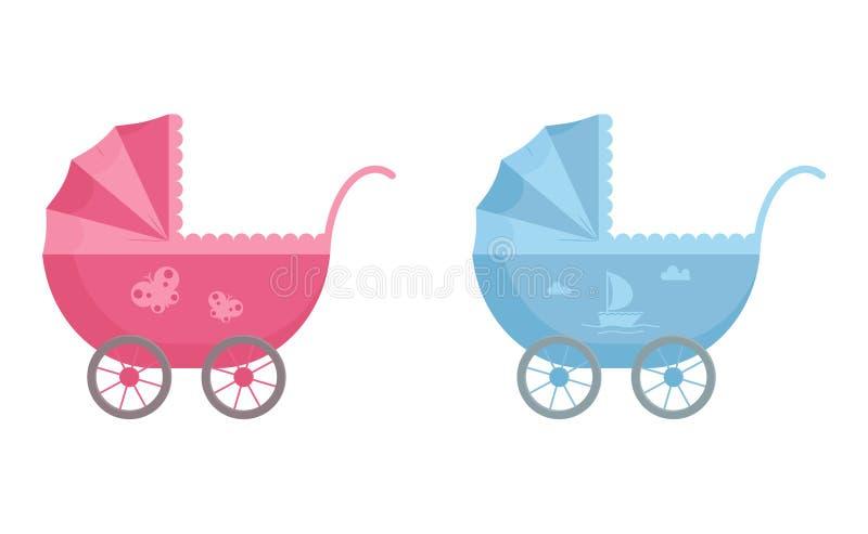 Behandla som ett barn pramen i blåa och rosa färger som dekoreras med segelbåten och fjärilen i plan stil vektor illustrationer