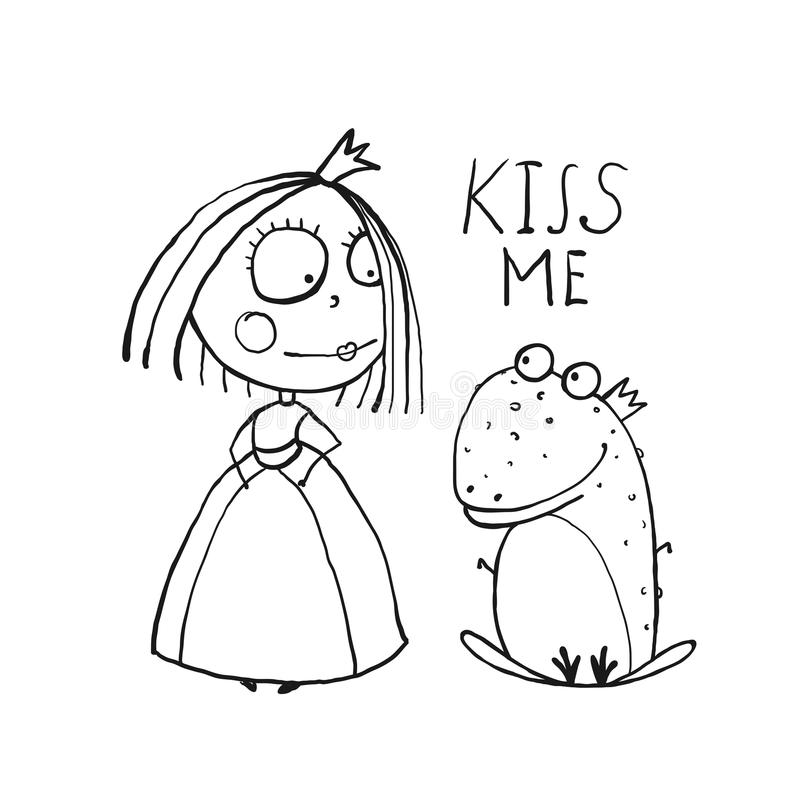 Behandla som ett barn prinsessan och grodan som frågar för kyssfärgläggning stock illustrationer