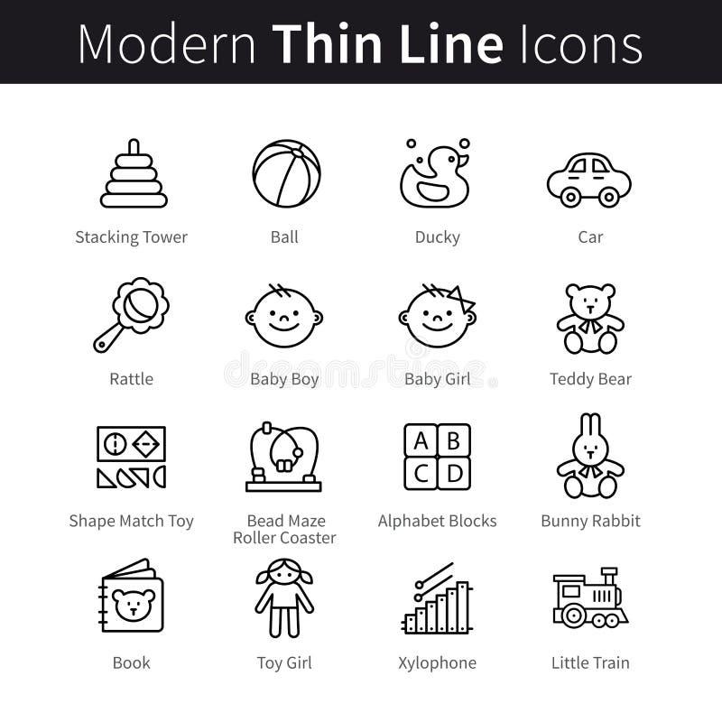 Behandla som ett barn produkter och den tunna linjen konstsymboler för lekar stock illustrationer