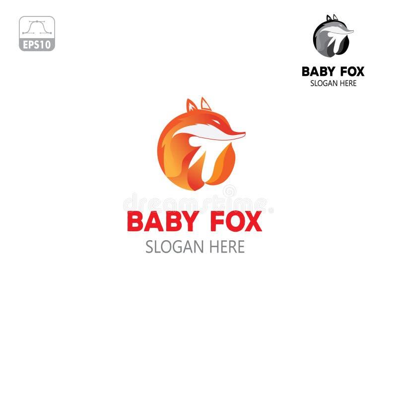 Behandla som ett barn räven Logo Template, unikt och kraftigt stock illustrationer