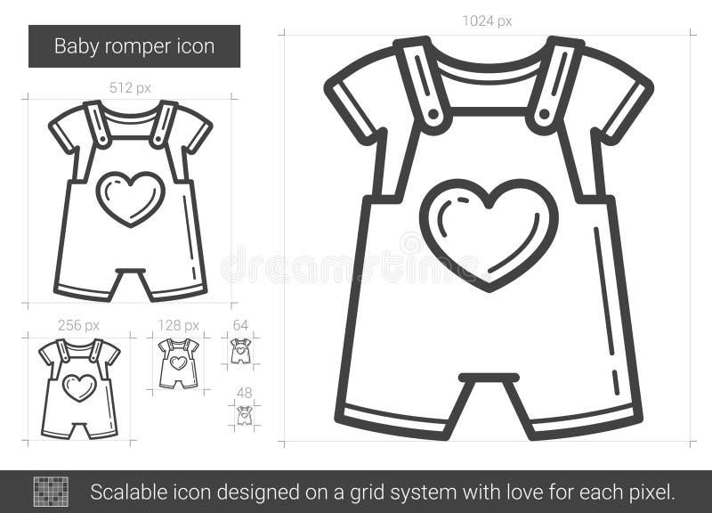 Behandla som ett barn romperlinjen symbol vektor illustrationer