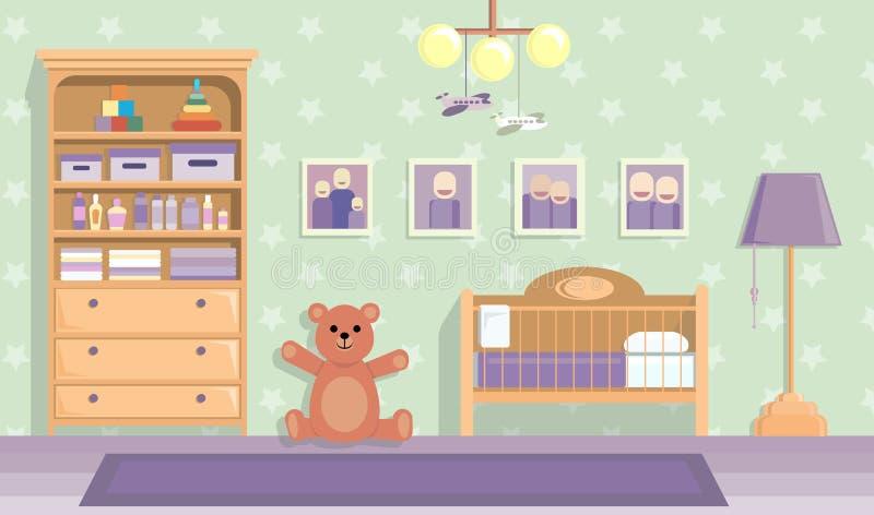 Behandla som ett barn rum i lila Vektorbild i plan designstil fotografering för bildbyråer