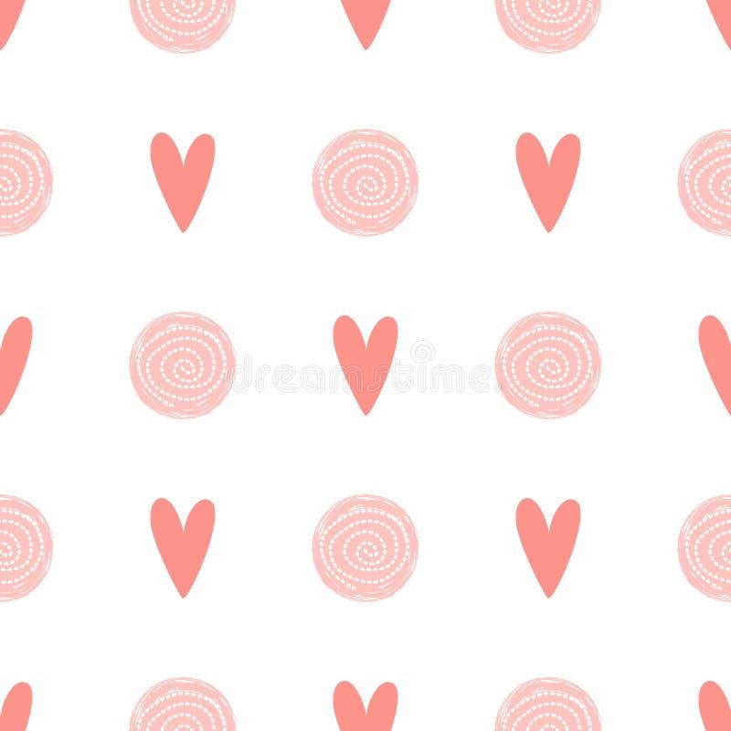 Behandla som ett barn sömlös bakgrund för rosa för prickmodellen förälskelse för hjärta för födelsedagmall för flicka enkel desig vektor illustrationer