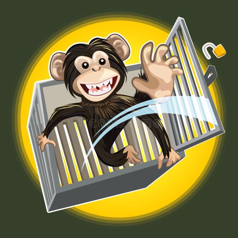 Behandla som ett barn schimpansen som bryter en bur royaltyfri illustrationer