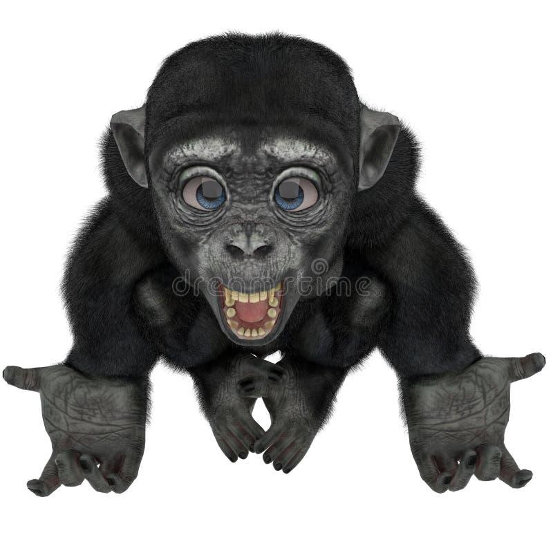 Behandla som ett barn schimpanstecknade filmen i en vit bakgrund royaltyfri illustrationer