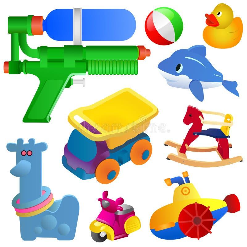 behandla som ett barn set toys för symbolen stock illustrationer