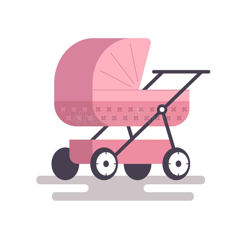 Behandla som ett barn sittvagnrosa f?rger royaltyfri illustrationer