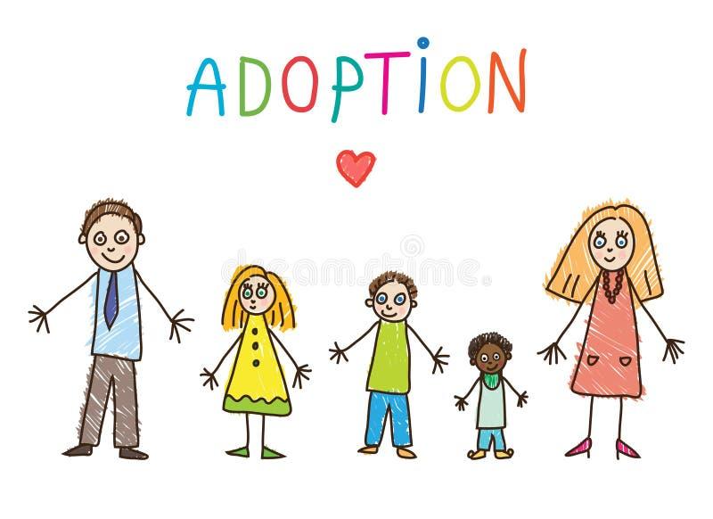 behandla som ett barn sonen för modern för ungar för farmodern för farfadern för fadern för daugtherteckningsfamiljen adoptiv- fa vektor illustrationer