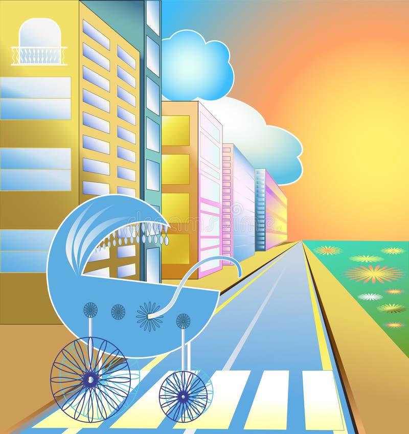 behandla som ett barn stadsgatastrolleren stock illustrationer