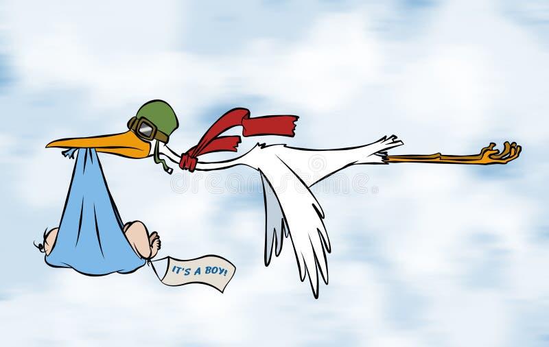 behandla som ett barn storken för pojke s stock illustrationer